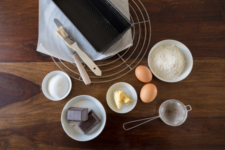 Baking ingredients for cake on a wooden table    photo