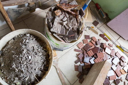 clinker tile: Red brick is placed and processed Stock Photo