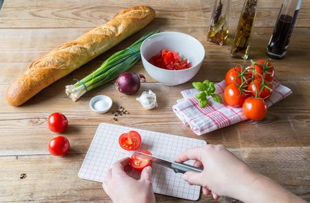 trillion: Bruschetta Ingredients for preparation Stock Photo