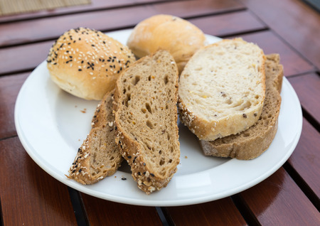 Various types of bread on a plate
