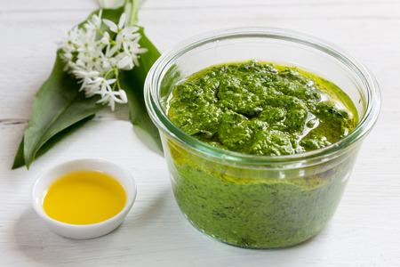 Pesto with wild garlic in a jar. photo