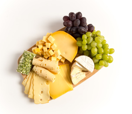 Cheese plate variation isolated white