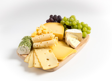 cheese plate: Cheese plate variation isolated white