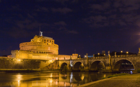 Castle SantAngelo with bridge at night.
