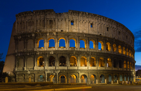historically: Colosseum at night in Rome.