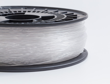 pva: Filament for 3D Printer clear against a light background.