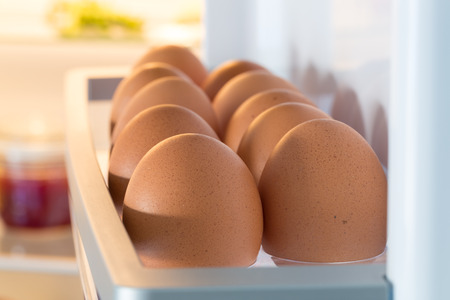 fridge: Open fridge filled with eggs