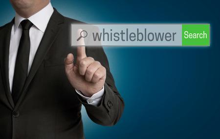 whistleblower internet browser is served by businessman.
