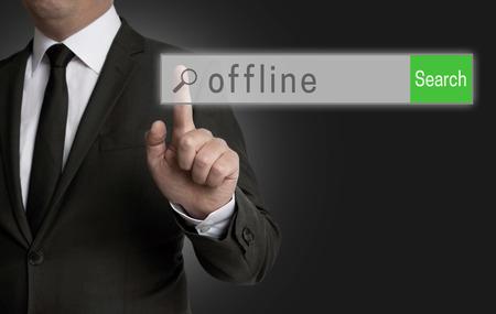 offline: offline internet browser is operated by businessman.