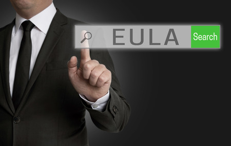 surf shop: EULA internet browser is operated by businessman. Stock Photo