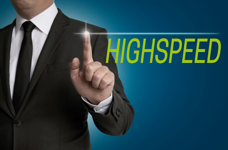 highspeed: Highspeed Touchscreen is served by businessman. Stock Photo