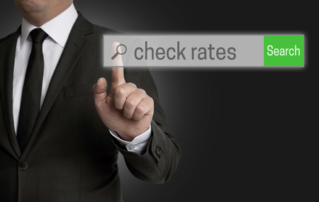 internet browser: Check Rates internet browser is operated by businessman.