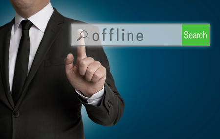 internet browser: offline internet browser is operated by businessman.