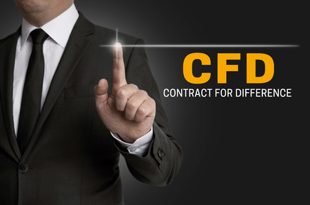 cfd touchscreen is operated by businessman. Reklamní fotografie