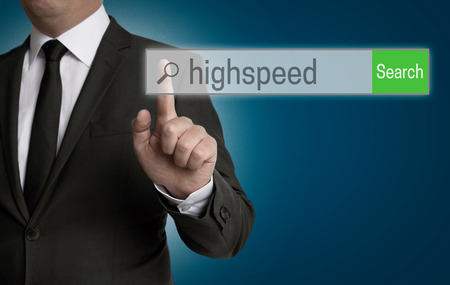 highspeed: highspeed internet browser is operated by businessman. Stock Photo