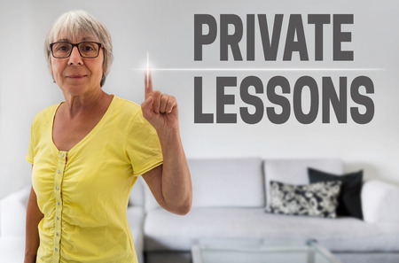 lessons: Private Lessons touchscreen is shown by senior.