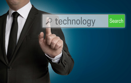 internet browser: Technology internet browser is operated by businessman. Stock Photo