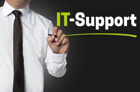 IT Support is written by businessman background Reklamní fotografie