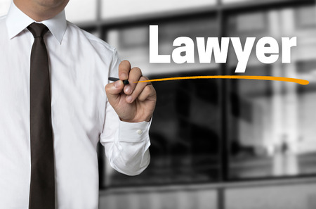 solicitor: Lawyer is written by businessman background concept.
