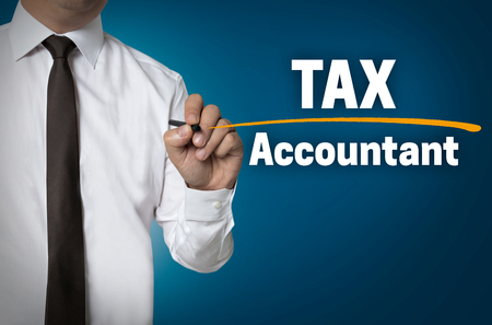 Tax accountant is written by businessman background.