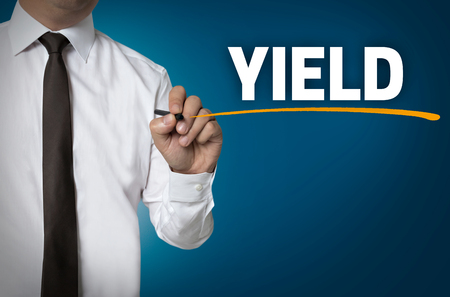 ceda: yield written by businessman background concept.