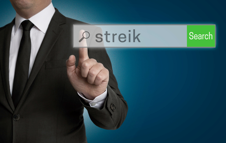 collective bargaining: streik internet browser is operated by businessman concept.
