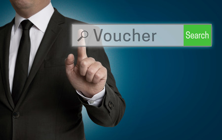 internet browser: Voucher internet browser is operated by businessman concept. Stock Photo