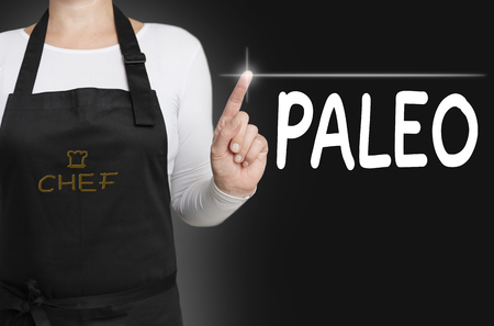 touchscreen: paleo background cook operated touchscreen concept.