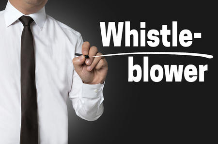 whistleblower: Whistleblower is written by businessman background concept.
