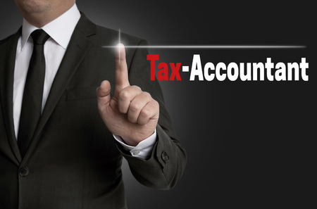 Accountant: Tax accountant touchscreen is operated by businessman concept.