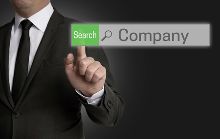 Company browser is operated by businessman concept.