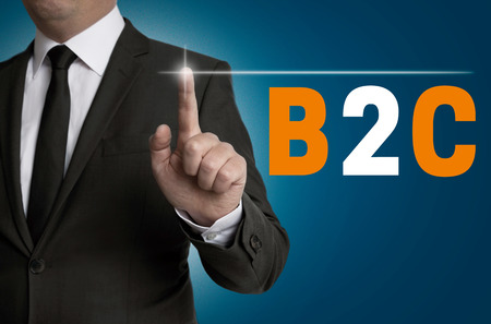 touchscreen: b2c touchscreen is operated by businessman concept.