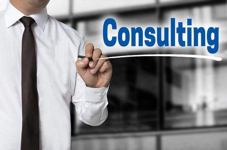 reestablishment: Consulting is written by businessman background concept.