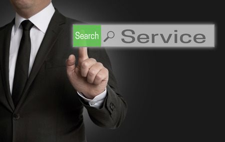 internet browser: service internet browser is operated by businessman concept.