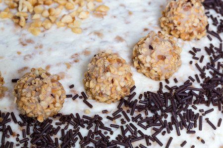 chocolate sprinkles: Almond nut cake with chocolate sprinkles detail. Stock Photo