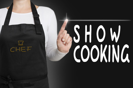 show cooking touchscreen is operated by chef concept