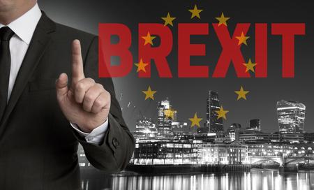 kingdom of heaven: Brexit on United Kingdom membership of the European Union London skyline concept with businessman.