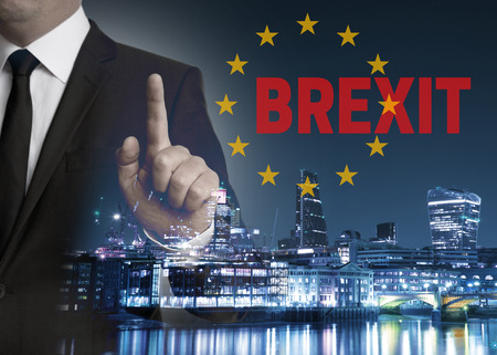 proposed: Brexit on United Kingdom membership of the European Union London skyline concept with businessman.