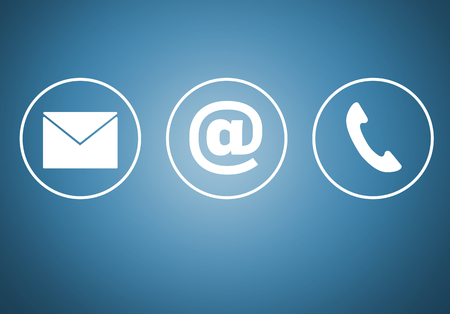mail icon: Contact icons e mail newsletter phone concept. Stock Photo