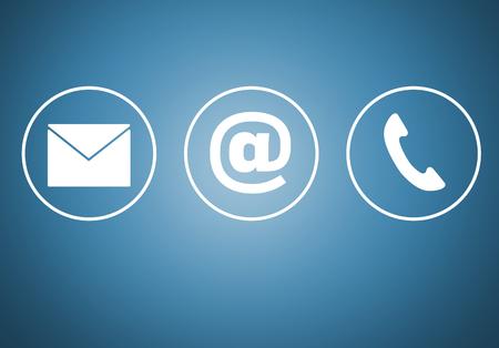 Contatto icone e mail concetto newsletter telefono.