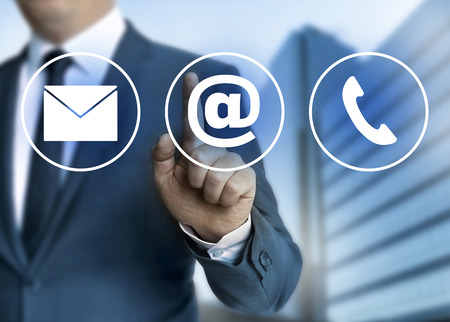 business contact: Contact e-mail, letter and phone concept. Stock Photo