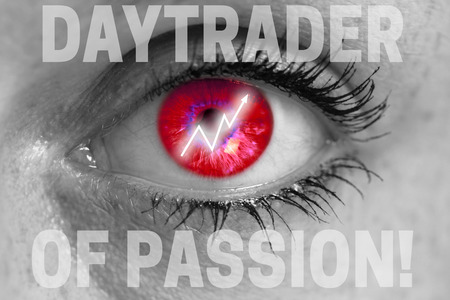 equities: daytrader eye looks at viewer concept macro. Stock Photo