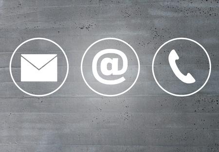 Contactez icônes message électronique concept de téléphone.