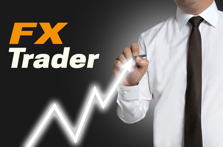 fx: FX trader draws market price on touchscreen.