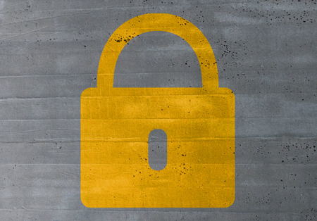 concluded: lock concept on cement texture background.
