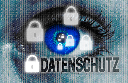 data protection (in german datenschutz) eye looks at viewer concept.