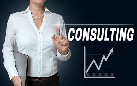 reestablishment: consulting touchscreen is operated by businesswoman.