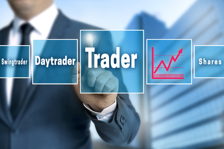 touchscreen: trader touchscreen is operated by businessman.