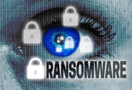 encrypted: ransomware eye looks at viewer concept.