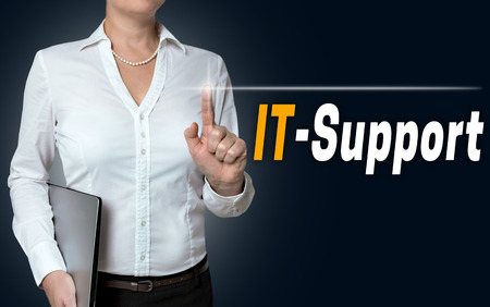touchscreen: it-support touchscreen is operated by businesswoman.